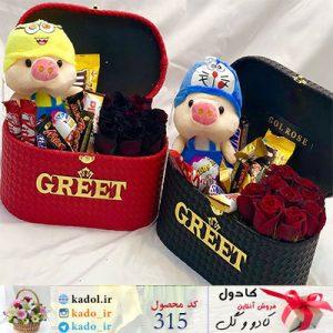 باکس گل شکلات و عروسک مرسده